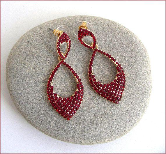 Red crystal / Gold chic earrings Bridal earrings