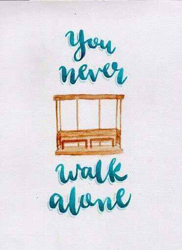 Watercolor Wallpaper Backgrounds Quote Bts You Never Walk Alone Ynwa Calligraphy In 2019
