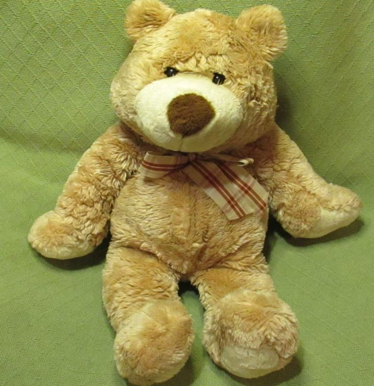 "Animal Alley Jumbo TEDDY BEAR 26"" Long Plush Stuffed Tan Plaid Bow Soft Cuddly  #AnimalAlley"