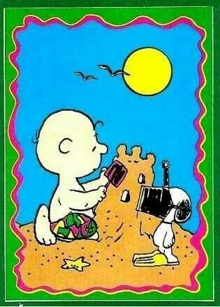 A day at the beach with Snoopy and Charlie Brown.