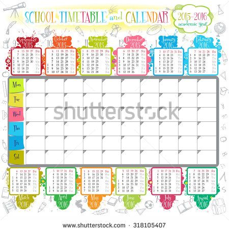 Calendar and School timetable for students or pupils on 2015-2016 academic year