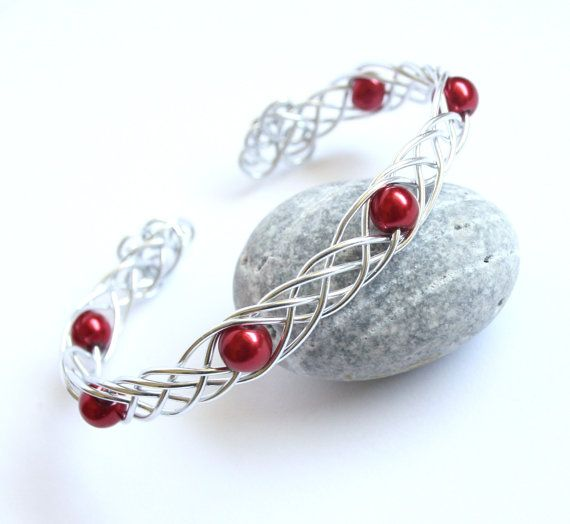 Celtic Braid Bracelet - Blood Red Cranberry Pearls and Silver Aluminum Cuff Bracelet - Wire Wrapped Weave
