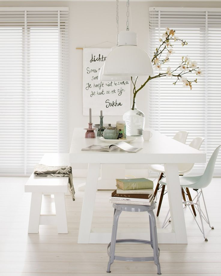 table | white | nice setup for Eastern via @vtwonen