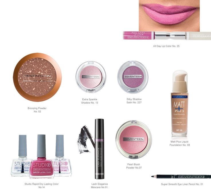 Sweet Pink   Seventeen Cosmetics Luminous pink-fuchsia shades on eyes and lips are top choices in this summer's color palette and add a fresh, youthful touch to your make up look. #Seventeen #Cosmetics #makeup