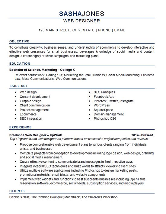 Web Designer Resume Example is for professional with experience in graphic design, web development, ecommerce, SEO and social media