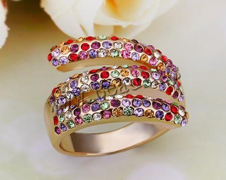 Anillo de Aleación de Zinc, chapado, con diamantes de imitación, más colores para la opción, libre de níquel, plomo & cadmio, 17x22mm, tamañ...