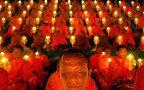 Buddhist monks at candlelight vigil for the  2004 tsunami victims