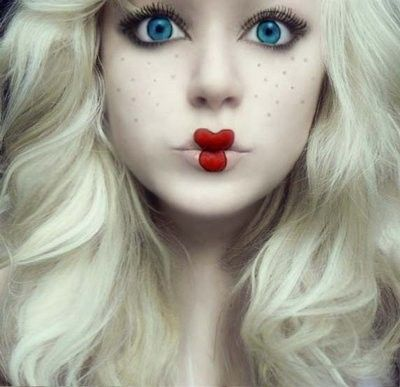 halloween makeup, gonna do my makeup like this for the benefit tomorrow, i am going as a doll,:) idk about the lips, but def the eye makeup