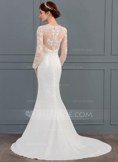 a4b4e3b9b7dee Trumpet Mermaid Illusion Sweep Train Stretch Crepe Wedding Dress ...