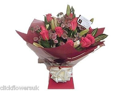 Fresh #flowers delivered lily and rose #selection florist choice mixed #bouquet,  View more on the LINK: http://www.zeppy.io/product/gb/2/222237101681/