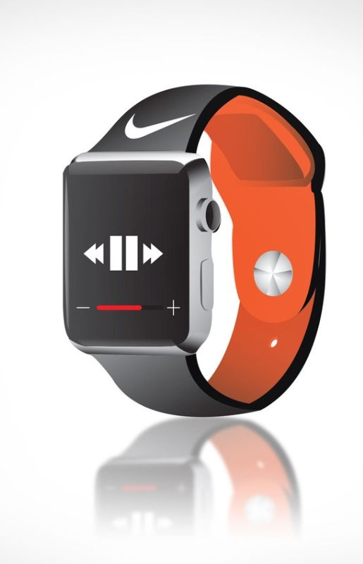A branded Apple Watch wristband concept.