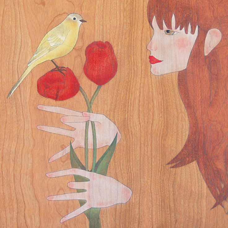 """little canary we both love the tulip flower""  ""petit canari a tots dos ens agrada la flor de la tulipa"""
