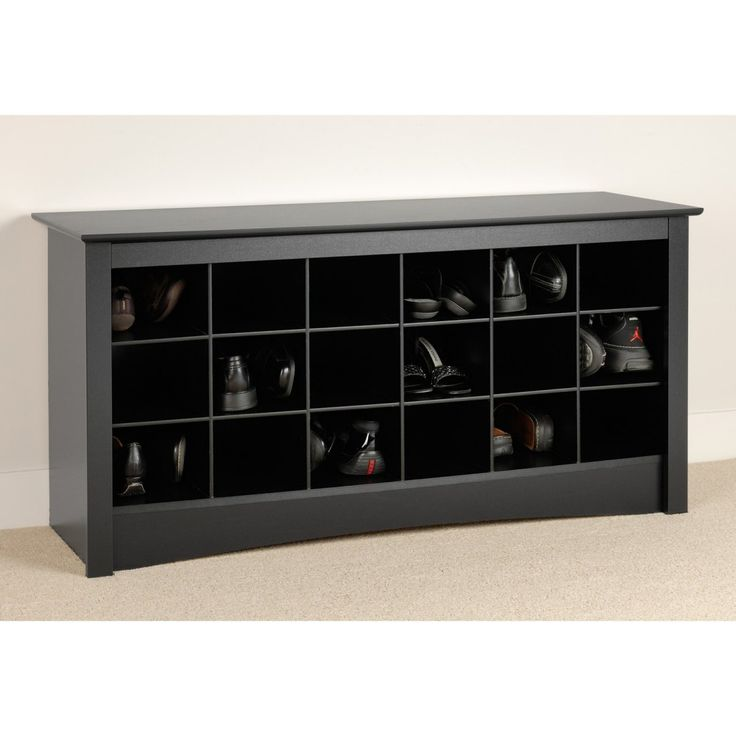 Prepac Winslow Black Shoe Storage Cubbie Bench Www