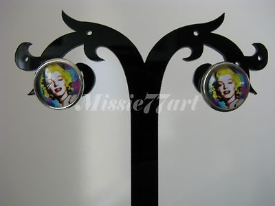 Marilyn Monroe Silver Plated Glass Cameo Stud Earrings- Choice of 3 Designs $9.95