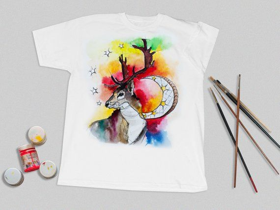 Hand Painted T Shirt T Shirt Deer Art Custom Painted T Shirt