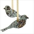 Pair of Blue Lovebird decorations, £10 by Claire Lovett, printed with wallpaper from 1810 - Available from www.clairelovettceramics.co.uk