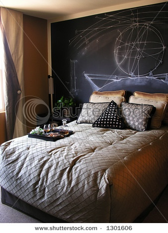 science themed bedroom what I think my science teachers room looks like. Chalkboard wall for constant change.