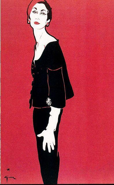 René Gruau: Givenchy, Spring 1953. L'Officiel magazine