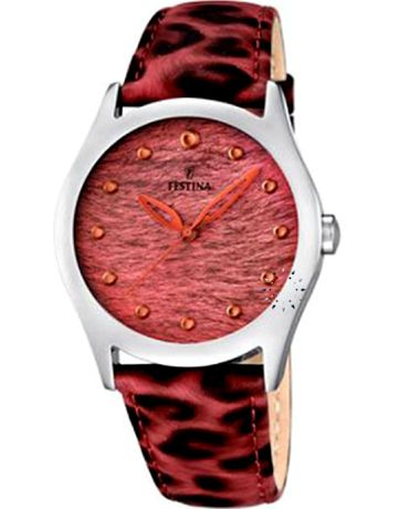 FESTINA Red Animal Print Leather Strap Τιμή: 69€ http://www.oroloi.gr/product_info.php?products_id=36403