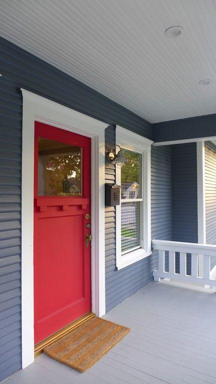 Red door, blue house.