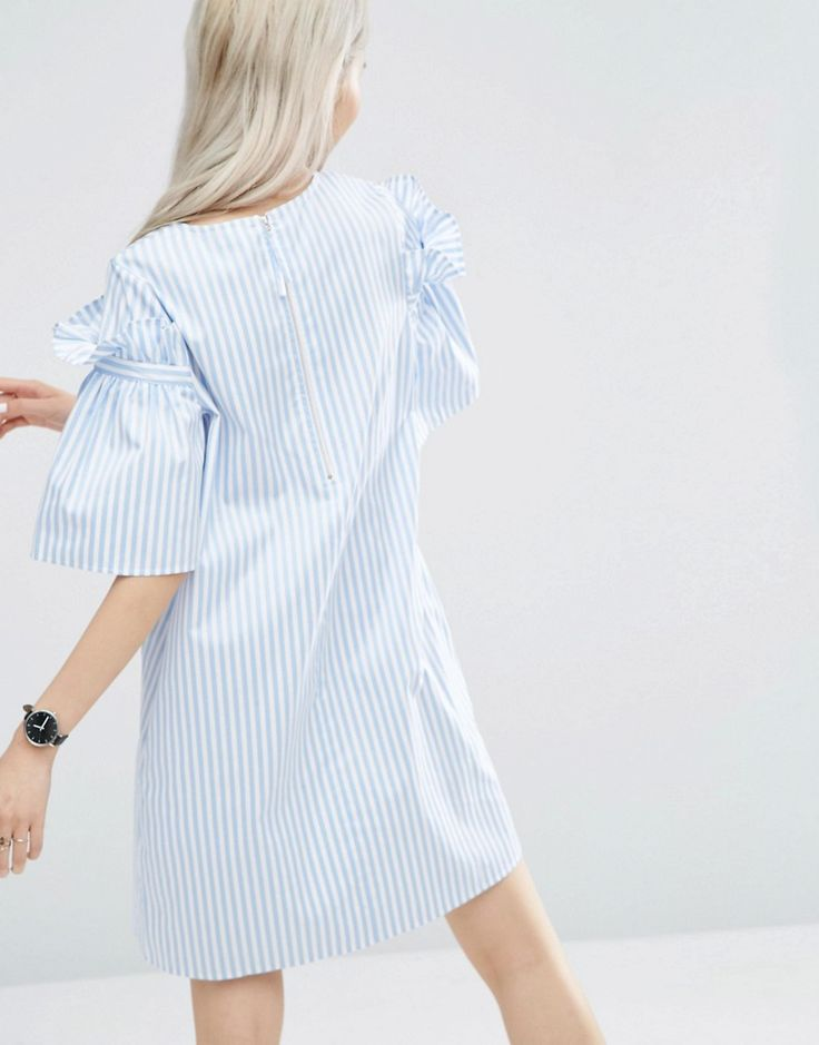 Image 2 ofASOS WHITE Stripe Frill Dress