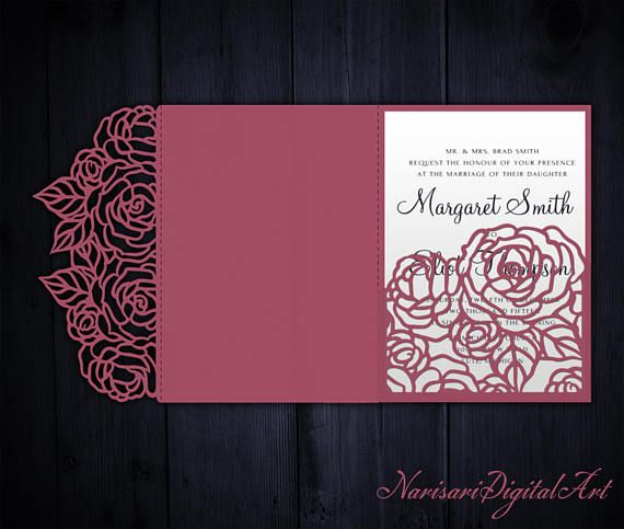 209 best laser cut wedding invitations images on pinterest for Pocket wedding invitations cricut