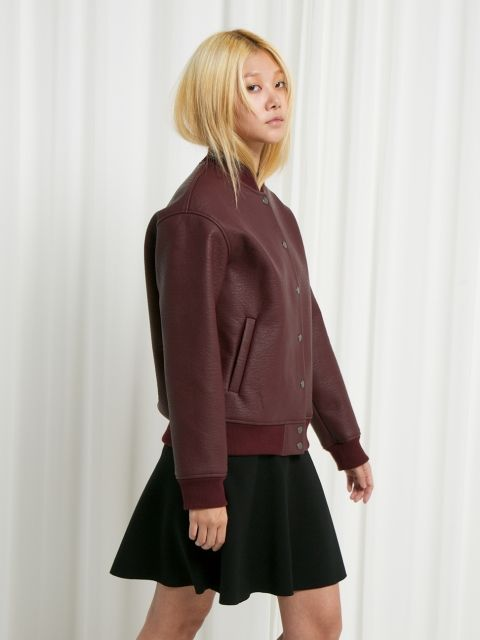 FOLIEADEUX - CHELSEA LEATHER BASEBALL JUMPER WINE