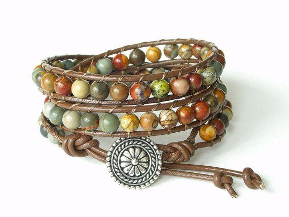 Boho chic beaded greek leather wrap bracelet by MirasBeadBoutique