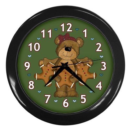 Bear with Gingerbread Men Wall Clock