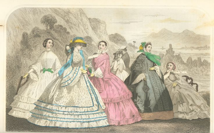 Coloured fashion plate from 'Godey's Lady's Book 1860'. Published in Philadelphia by  Louis A. Godey. This image is in the public domain.