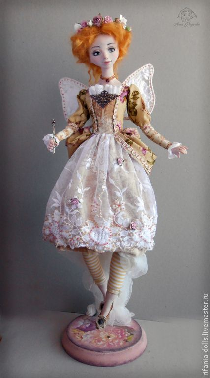 Купить Крестная фея - оранжевый, фея, крестная, коллекционная кукла, подарок, оберег, ЛивингДолл, сатин