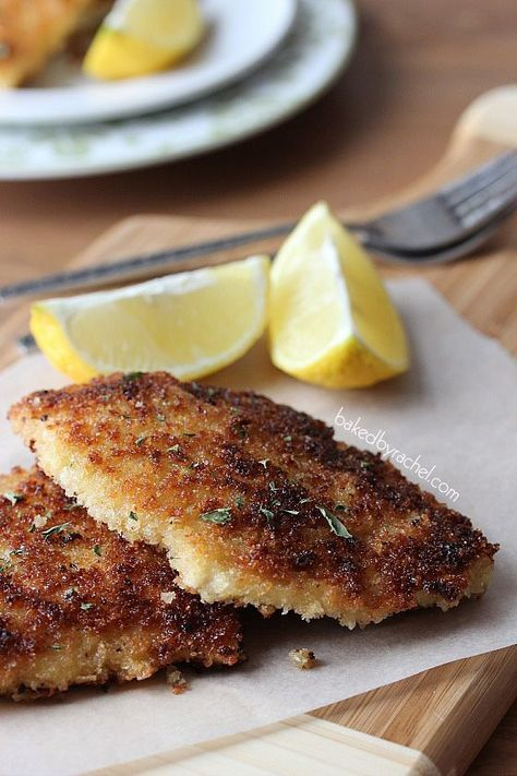 Chicken Schnitzel Recipe from bakedbyrachel.com Thin and crisp chicken filets with a hint of dijon mustard. Have dinner on the table in under 30 minutes!