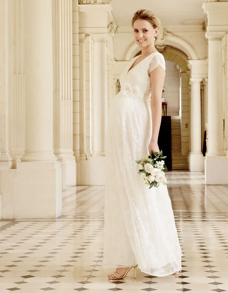 Short lace maternity wedding dress bridal gowns gowns for Maternity lace wedding dresses