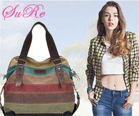 Women Casual Stripe Canvas Handbags Shoulder Bags Contrast Color Crossbody Bags