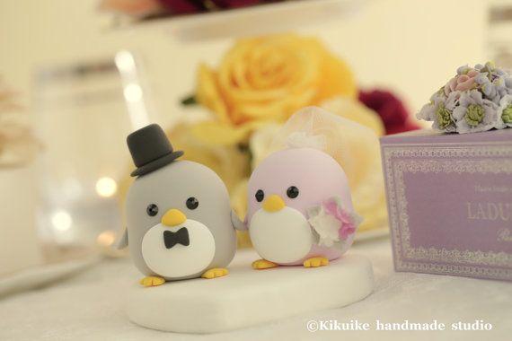 Cute Penguins Wedding Cake Topper with crystal crown by kikuike, $120.00