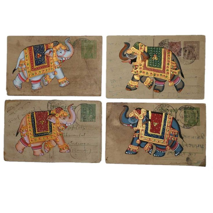 Postcard painting is an exquisite work of art from Rajasthan, India. It is extremely fine hand made art on old postcard. In Indian culture, elephant has a special place,it is assumed to be auspicious to have elephant symbol in the home. The artist has tried to recreate the image of colourful auspicious and lucky elephant roaming on the street. The painting is made of old used postcard. The paper is darkened using tea water to enhance the grace. Click here to buy this product…