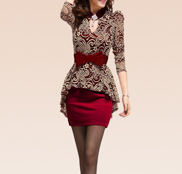 Lace Splicing Packet Buttock Sexy Style Long Sleeves Peplum Dress For Women (RED,L) | Sammydress.com