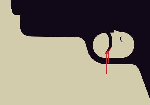 Gun Crime by Noma Bar, part of his Negative Space Book ::: www.dutchuncle.co.uk/noma-bar-images