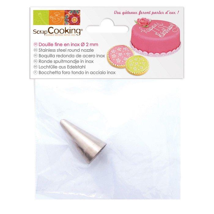 Douille en inox Scrapcooking pour écrire sur vos gâteaux ou réaliser des décors fins sur vos gâteaux, biscuits et pâtisseries - Youdoit.fr