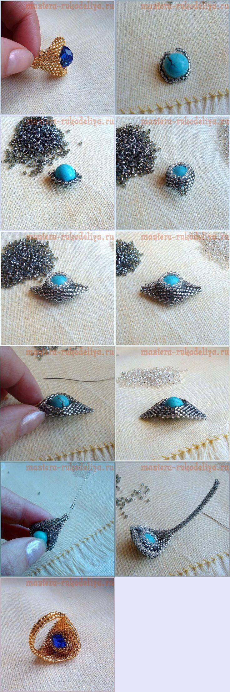 Peyote Gyűrű  Használtuk az alábbi materaly: Miyuki Delica 11/0 belső Ezüstös sötét ezüst (# 48) Gyöngyök Miyuki 15/0 belső ezüst ezüst (# 325) Lesko 0,1 mm. Türkiz gyöngy átmérője körülbelül 1 cm-es
