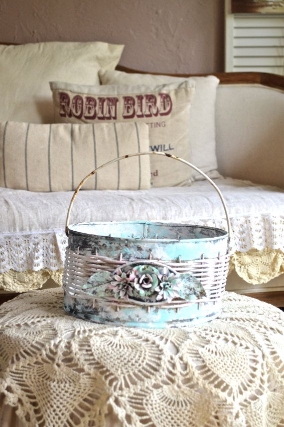 Shabby Chic Rose Basket with handle/distressed by Anniesimages