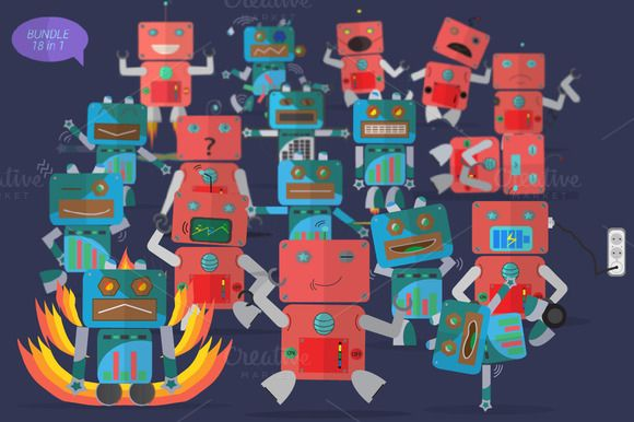 Check out Robot Characters - Bundle 18 in 1 by Graphiqa on Creative Market