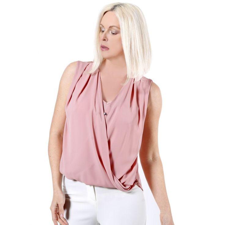 FEMALE Κρουαζέ σομόν μπλουζάκι με διπλό ύφασμα