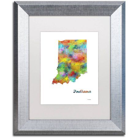 Trademark Fine Art Indiana State Map-1 inch Canvas Art by Marlene Watson, White Matte, Silver Frame, Size: 11 x 14