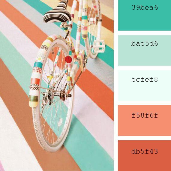 Paletas de colores Pantone: azul #limpetshell #peach echo