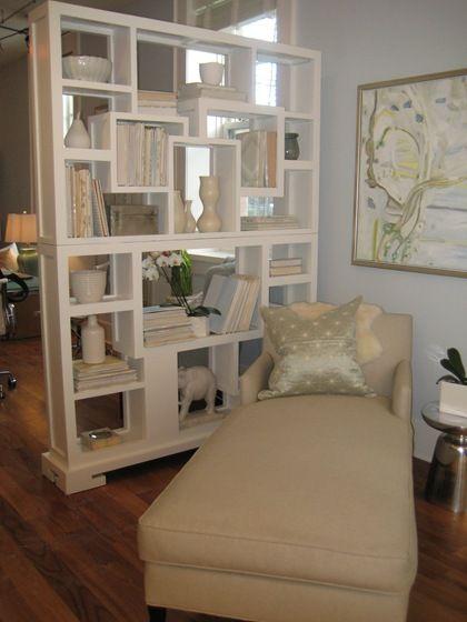Bookshelf styling. Love the bookshelf/room divider