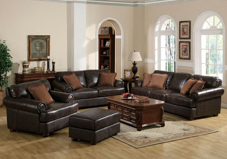 Leather Couch Set. Replace Accent Pillows With More Modern