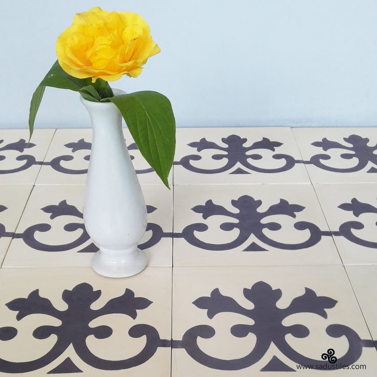 One of our classic border tile designs installed on a different way. Handmade cement tiles from Sadus Tiles in Bali