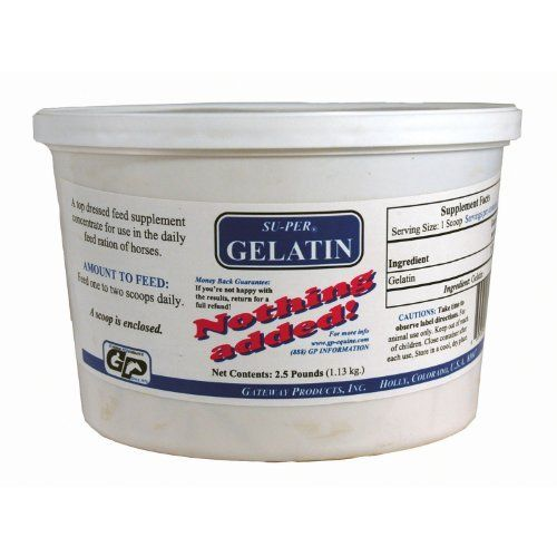 GELATIN - 3 LB by Hawthorne. $24.95. Easily digested protein, which may aid in toughening the hoof wall and providing a stronger hoof.