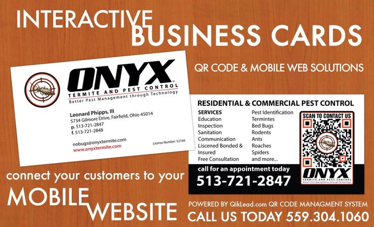 8 best interactive qr code business cards images on pinterest qr onyx termite and pest control of cincinnati ohio uses our interactive qr code business cards reheart Images